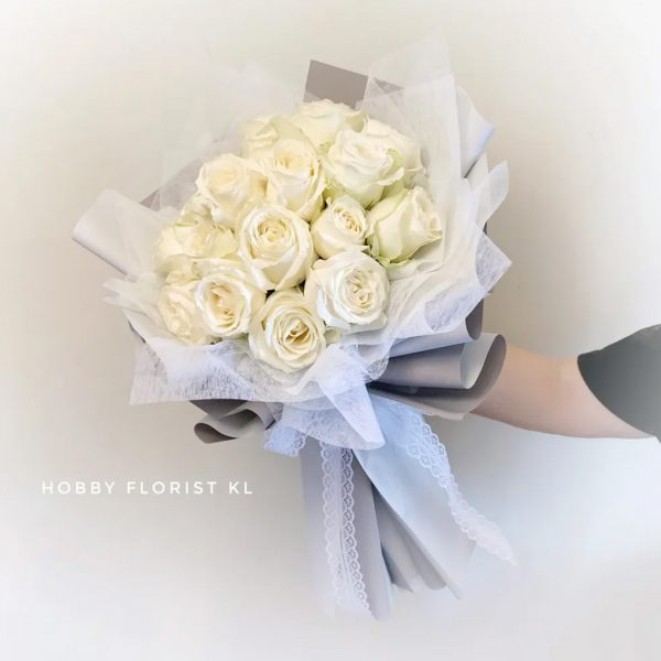 Seraphina (White) Bouquet featuring 20 White Roses perfect for any occasions in Malaysia