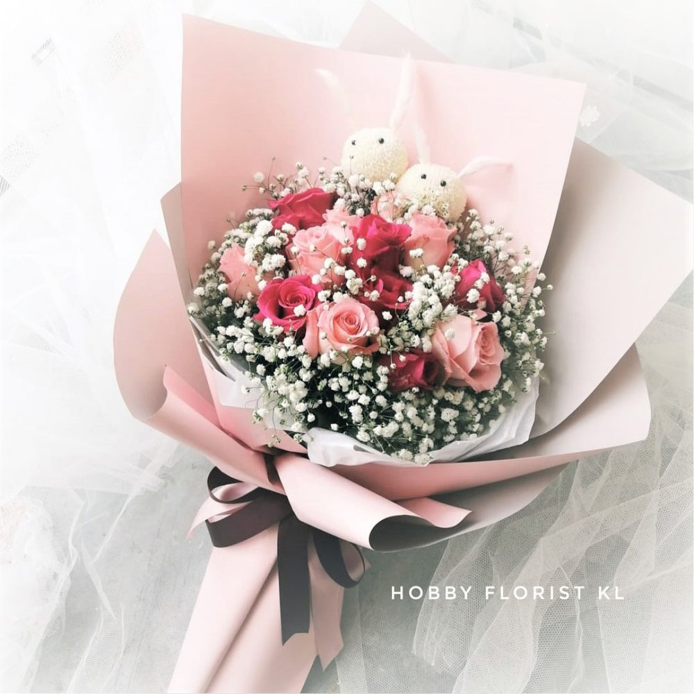 Rose, Baby Breath and Ping Pong Bunnies Bouquet, Sweet Gift for Anniversaries and Birthdays Malaysia