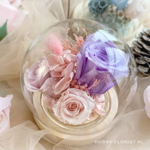 Lilac Preserved Flower Bell Dome Malaysia for Valentine's Day 2021