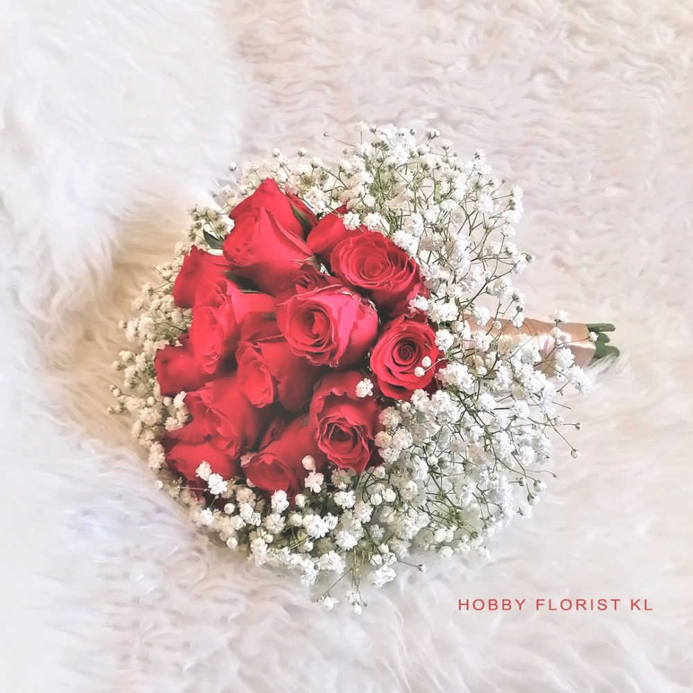 Bridal Bouquet Malaysia Rose with Baby Breath Bridal Bouquet Kuala Lumpur for Weddings and ROMs