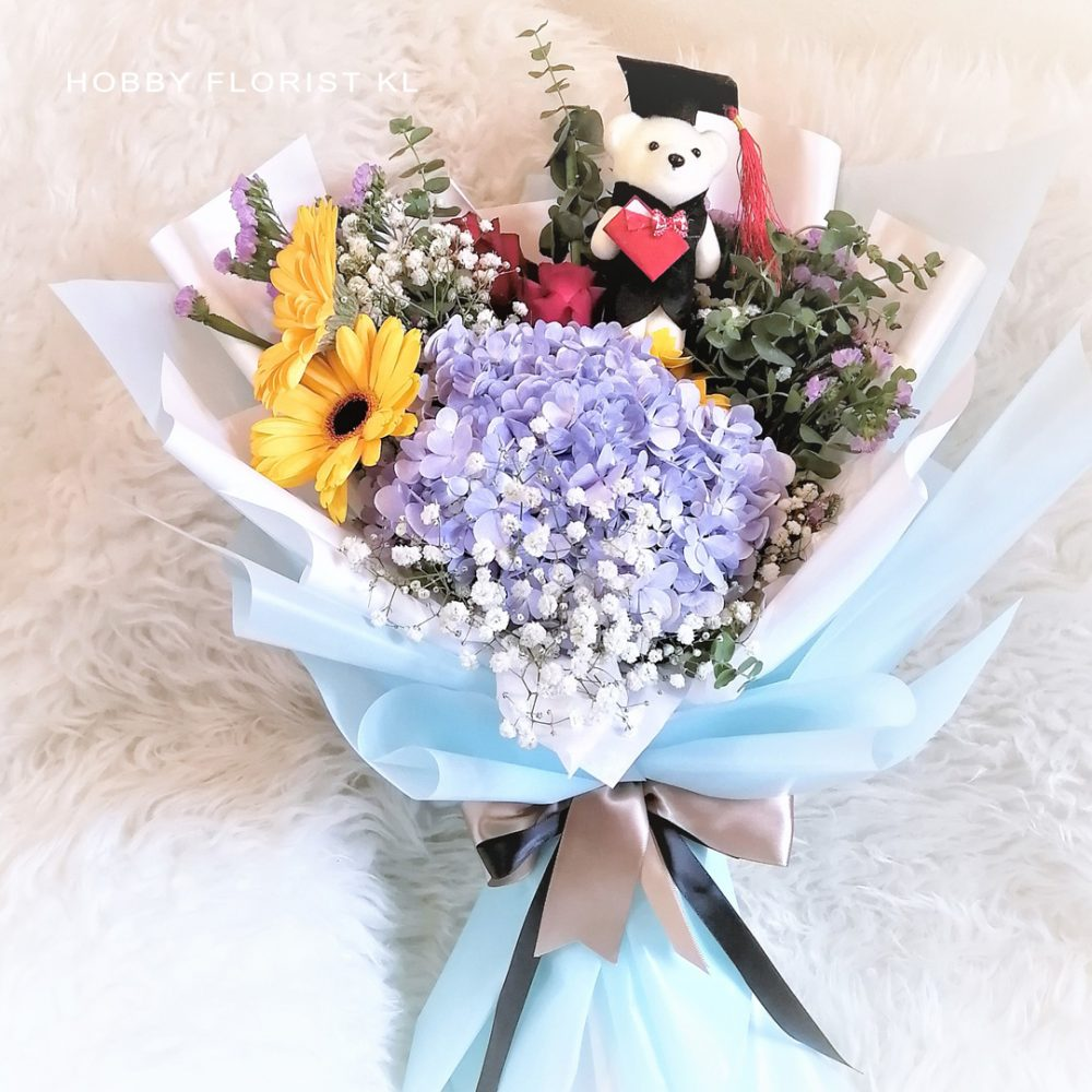 Hydrangea Bouquet for Graduation Malaysia Sunny Daisies and Roses KL