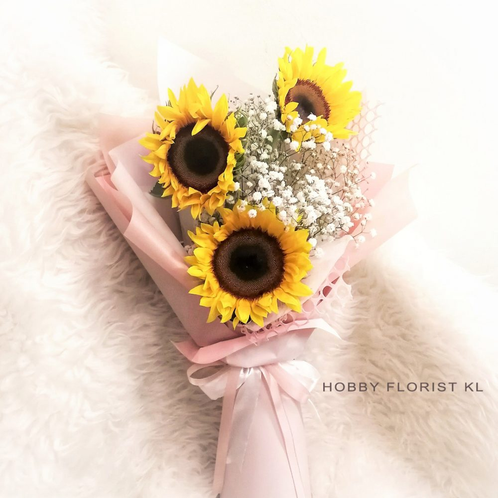 Sunflower Hand Bouquet with Baby Breath Malaysia