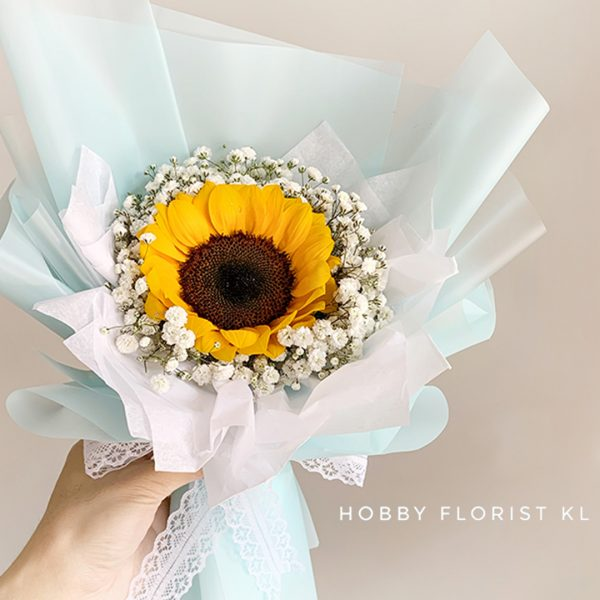 Sweet Sunfower and Baby Breath Bouquet Malaysia Best Online Florist for Sunflower Bouquets Kuala Lumpur Affordable Bouquet Delivery Klang Valley Graduation Sweet Gift KL Bouquet