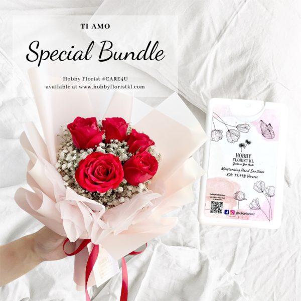 Rose Bouquet Malaysia Best Online Florist Kuala Lumpur Premium Rose Bouquet Kuala Lumpur Affordable Delivery Klang Valley Anniversary Bouquet KL Free Hand Sanitiser with Bouquet Purchase